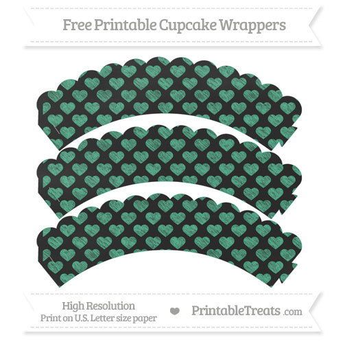 Free Mint Green Heart Pattern Chalk Style Scalloped Cupcake Wrappers