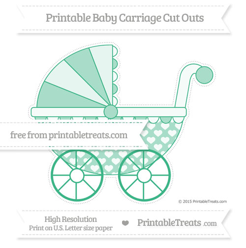 Free Mint Green Heart Pattern Extra Large Baby Carriage Cut Outs