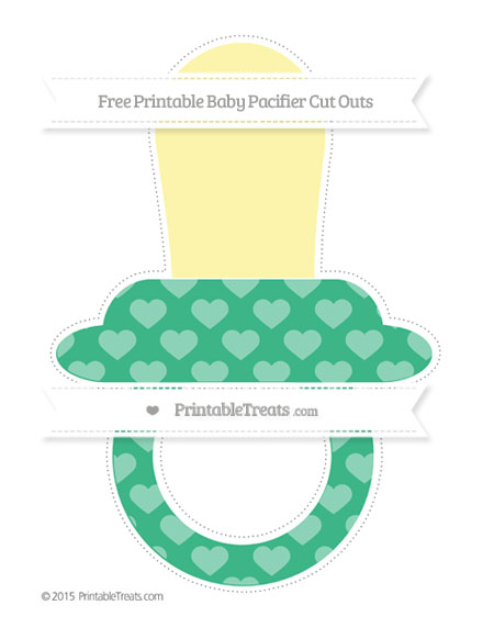Free Mint Green Heart Pattern Extra Large Baby Pacifier Cut Outs