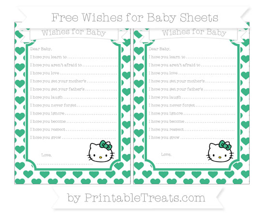 Free Mint Green Heart Pattern Hello Kitty Wishes for Baby Sheets