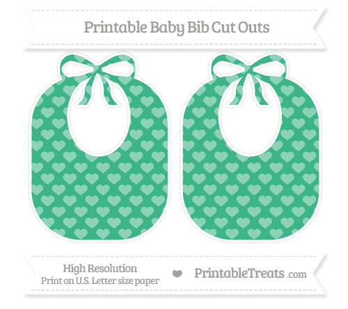 Free Mint Green Heart Pattern Large Baby Bib Cut Outs