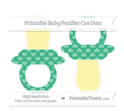 Free Mint Green Heart Pattern Large Baby Pacifier Cut Outs