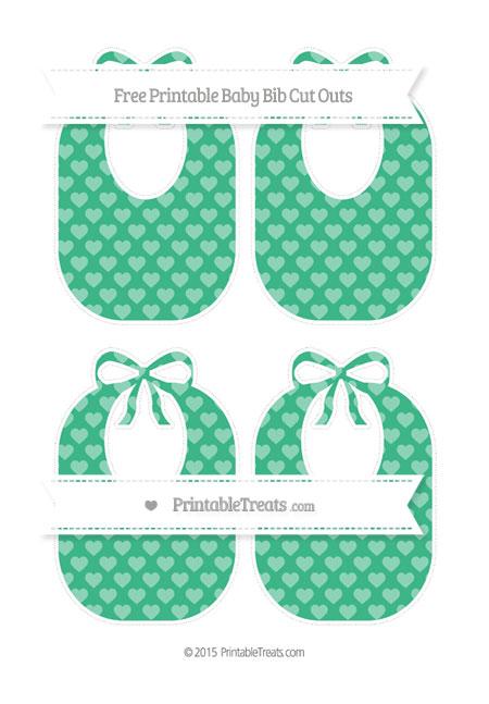 Free Mint Green Heart Pattern Medium Baby Bib Cut Outs
