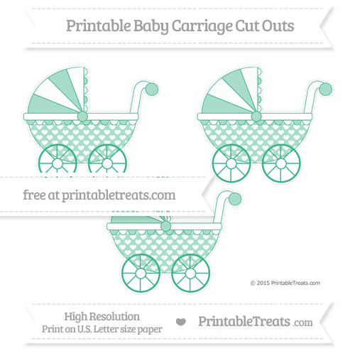 Free Mint Green Heart Pattern Medium Baby Carriage Cut Outs