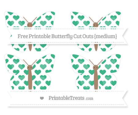 Free Mint Green Heart Pattern Medium Butterfly Cut Outs