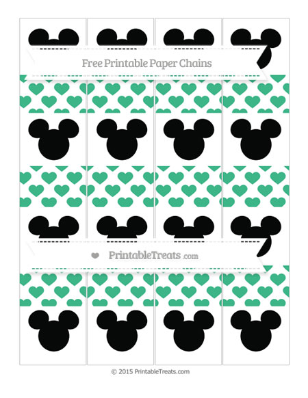 Free Mint Green Heart Pattern Mickey Mouse Paper Chains