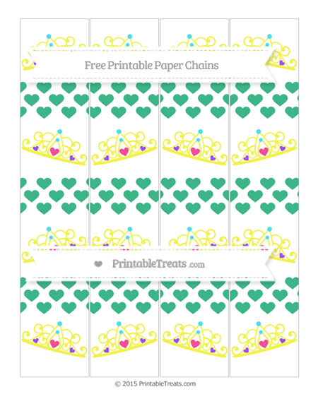 Free Mint Green Heart Pattern Princess Tiara Paper Chains