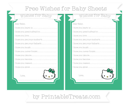Free Mint Green Hello Kitty Wishes for Baby Sheets