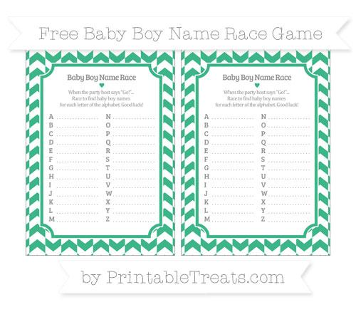 Free Mint Green Herringbone Pattern Baby Boy Name Race Game