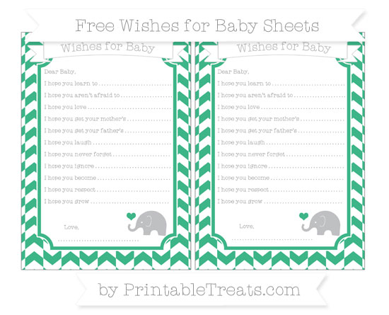 Free Mint Green Herringbone Pattern Baby Elephant Wishes for Baby Sheets