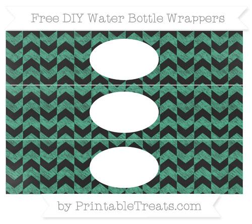 Free Mint Green Herringbone Pattern Chalk Style DIY Water Bottle Wrappers