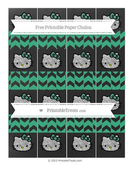 Free Mint Green Herringbone Pattern Chalk Style Hello Kitty Paper Chains