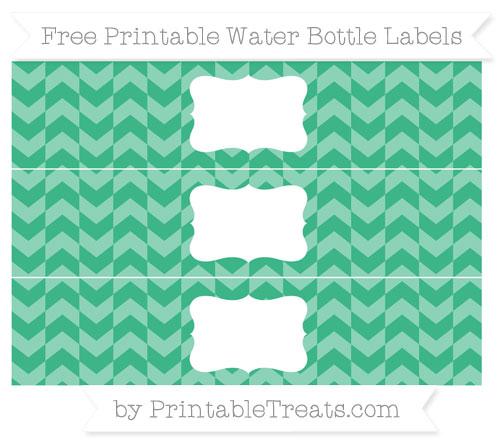Free Mint Green Herringbone Pattern Water Bottle Labels