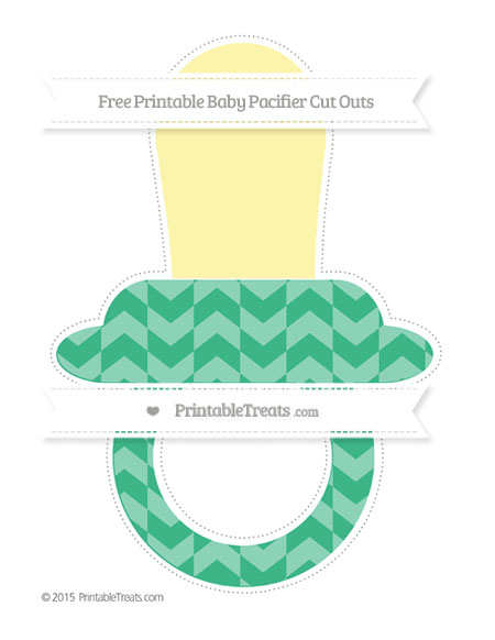 Free Mint Green Herringbone Pattern Extra Large Baby Pacifier Cut Outs