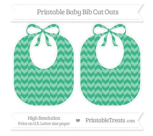 Free Mint Green Herringbone Pattern Large Baby Bib Cut Outs
