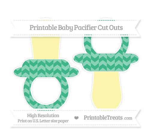 Free Mint Green Herringbone Pattern Large Baby Pacifier Cut Outs