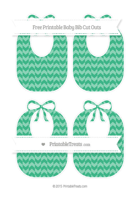 Free Mint Green Herringbone Pattern Medium Baby Bib Cut Outs