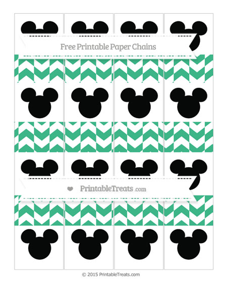 Free Mint Green Herringbone Pattern Mickey Mouse Paper Chains