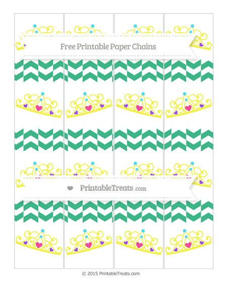 Free Mint Green Herringbone Pattern Princess Tiara Paper Chains
