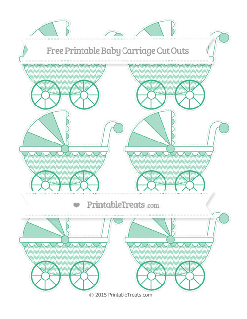 Free Mint Green Herringbone Pattern Small Baby Carriage Cut Outs