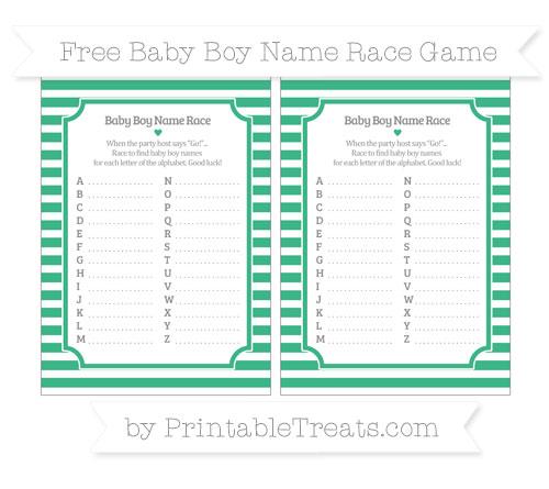 Free Mint Green Horizontal Striped Baby Boy Name Race Game