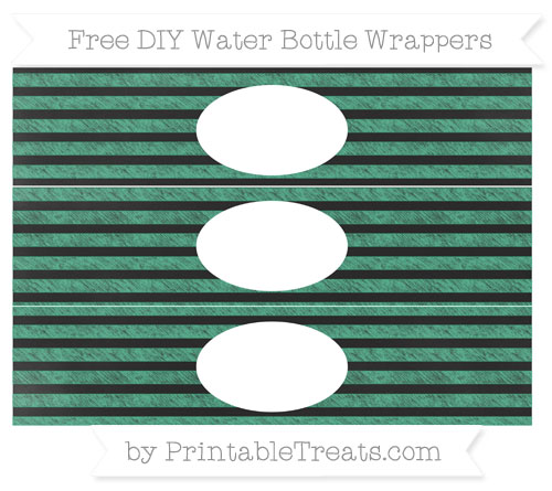 Free Mint Green Horizontal Striped Chalk Style DIY Water Bottle Wrappers