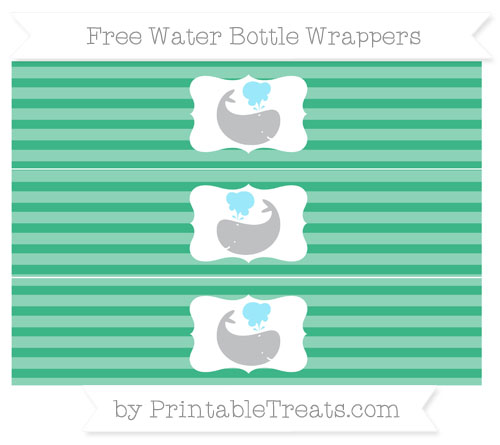 Free Mint Green Horizontal Striped Whale Water Bottle Wrappers