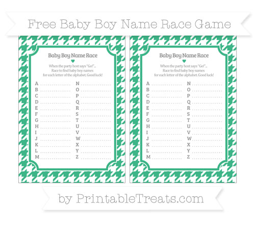 Free Mint Green Houndstooth Pattern Baby Boy Name Race Game