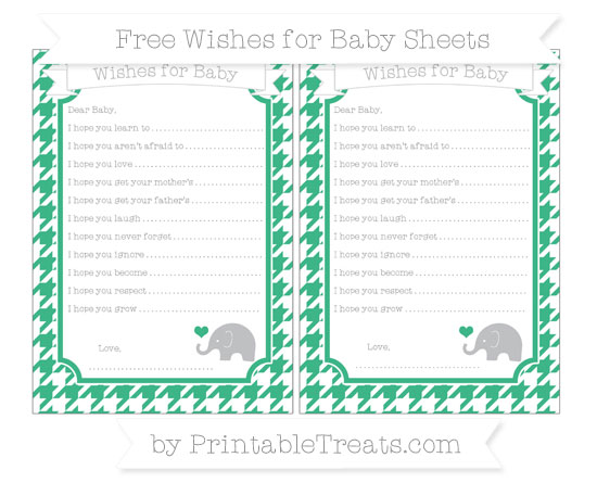 Free Mint Green Houndstooth Pattern Baby Elephant Wishes for Baby Sheets