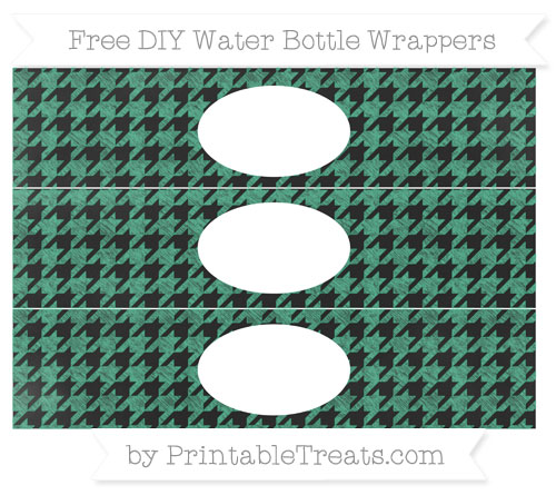 Free Mint Green Houndstooth Pattern Chalk Style DIY Water Bottle Wrappers