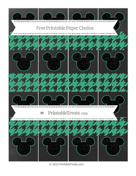 Free Mint Green Houndstooth Pattern Chalk Style Mickey Mouse Paper Chains