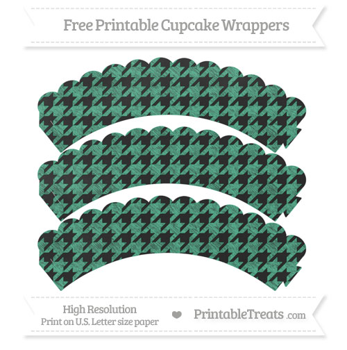 Free Mint Green Houndstooth Pattern Chalk Style Scalloped Cupcake Wrappers