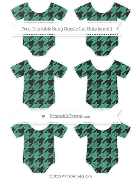 Free Mint Green Houndstooth Pattern Chalk Style Small Baby Onesie Cut Outs