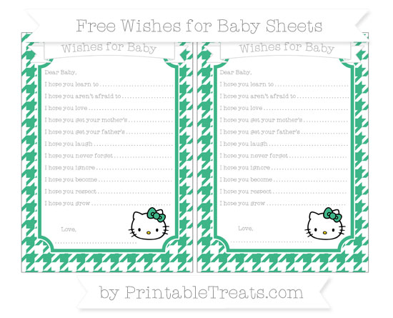 Free Mint Green Houndstooth Pattern Hello Kitty Wishes for Baby Sheets