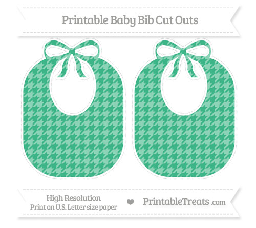 Free Mint Green Houndstooth Pattern Large Baby Bib Cut Outs