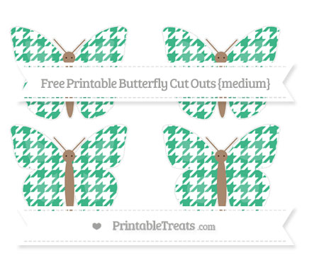 Free Mint Green Houndstooth Pattern Medium Butterfly Cut Outs