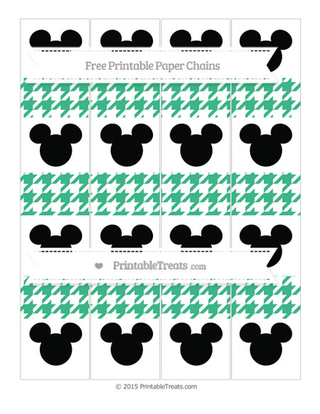 Free Mint Green Houndstooth Pattern Mickey Mouse Paper Chains