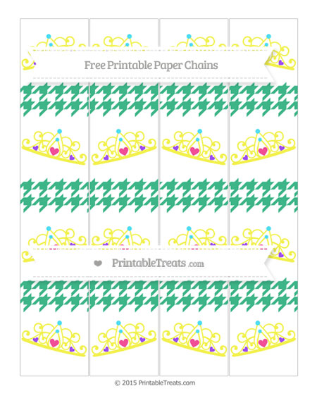 Free Mint Green Houndstooth Pattern Princess Tiara Paper Chains