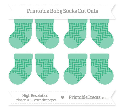 Free Mint Green Houndstooth Pattern Small Baby Socks Cut Outs