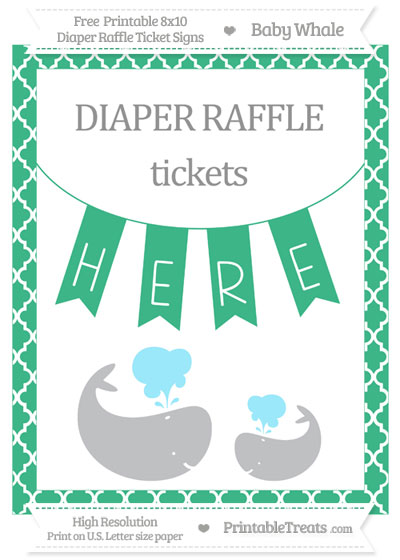 Free Mint Green Moroccan Tile Baby Whale 8x10 Diaper Raffle Ticket Sign