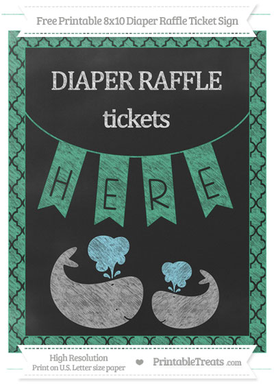 Free Mint Green Moroccan Tile Chalk Style Baby Whale 8x10 Diaper Raffle Ticket Sign