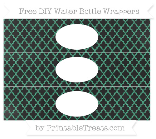 Free Mint Green Moroccan Tile Chalk Style DIY Water Bottle Wrappers