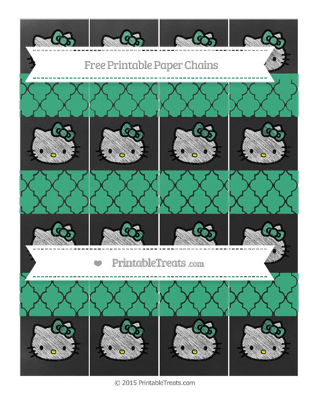 Free Mint Green Moroccan Tile Chalk Style Hello Kitty Paper Chains