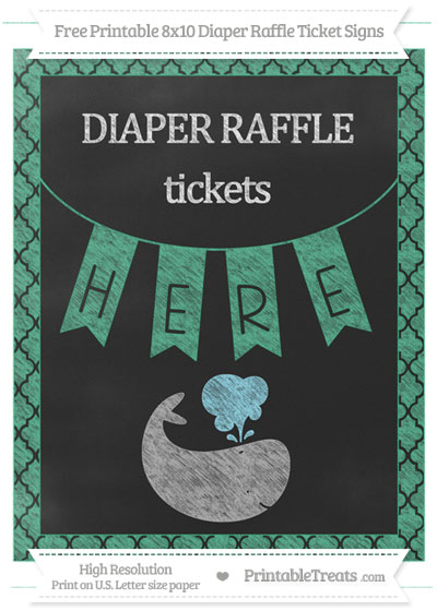 Free Mint Green Moroccan Tile Chalk Style Whale 8x10 Diaper Raffle Ticket Sign