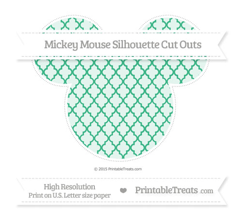 Free Mint Green Moroccan Tile Extra Large Mickey Mouse Silhouette Cut Outs