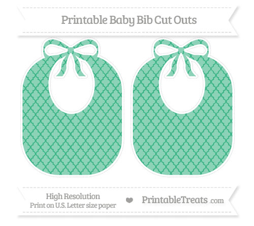 Free Mint Green Moroccan Tile Large Baby Bib Cut Outs