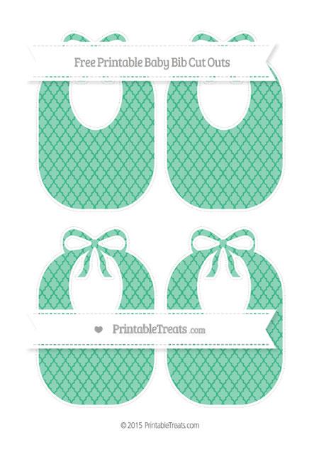 Free Mint Green Moroccan Tile Medium Baby Bib Cut Outs