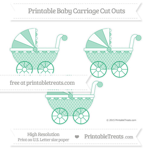 Free Mint Green Moroccan Tile Medium Baby Carriage Cut Outs