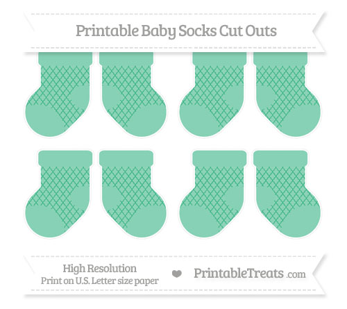 Free Mint Green Moroccan Tile Small Baby Socks Cut Outs