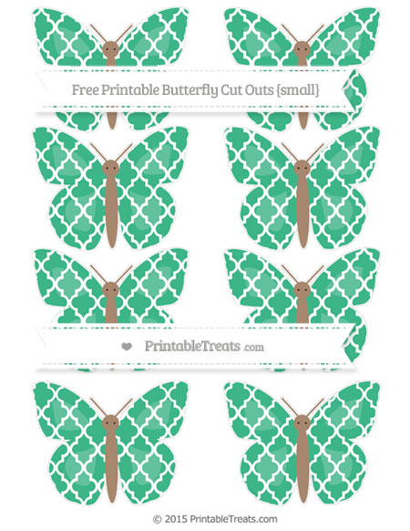 Free Mint Green Moroccan Tile Small Butterfly Cut Outs